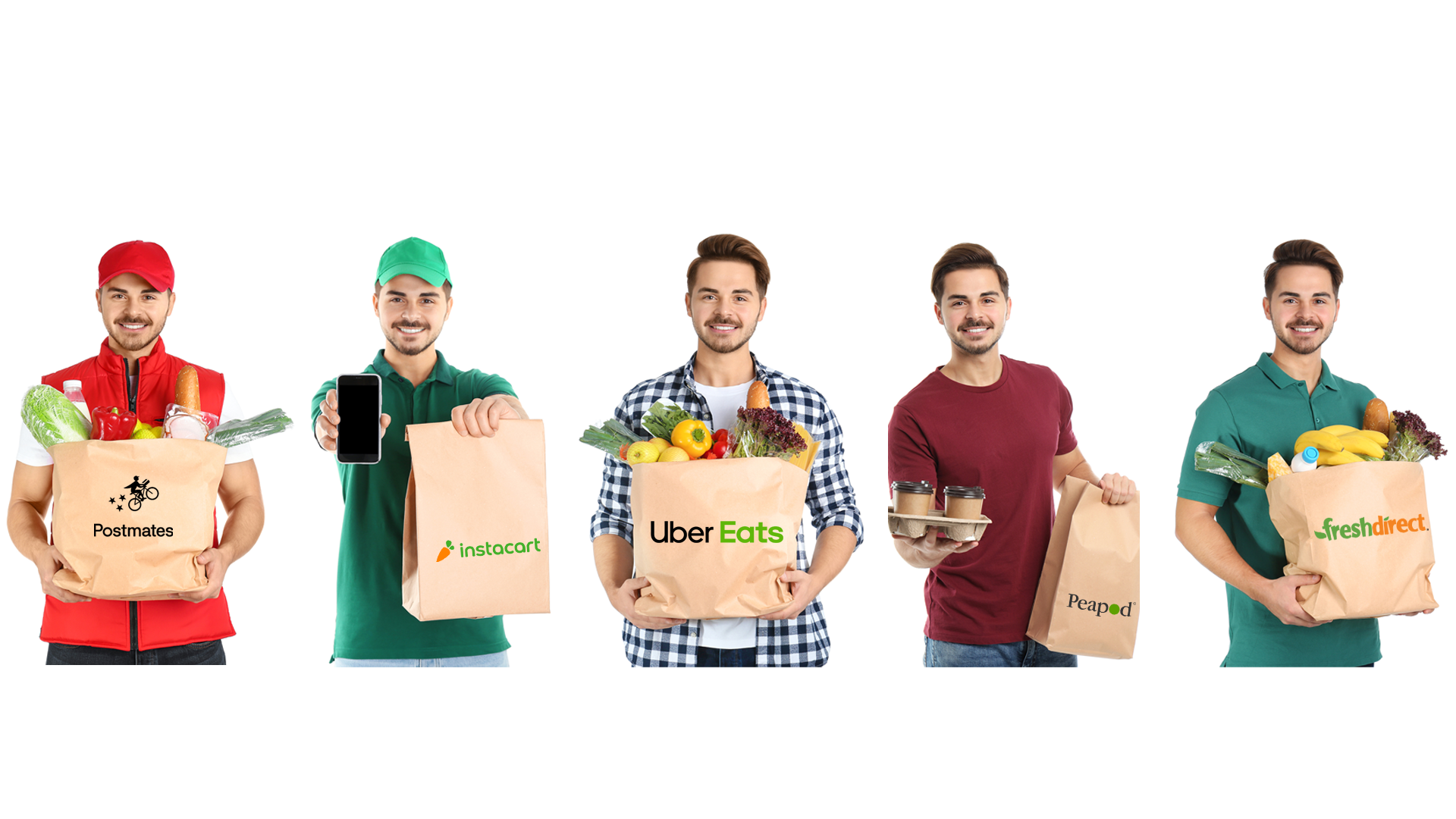 a grocery man delivers food from your favorite food delivery services.