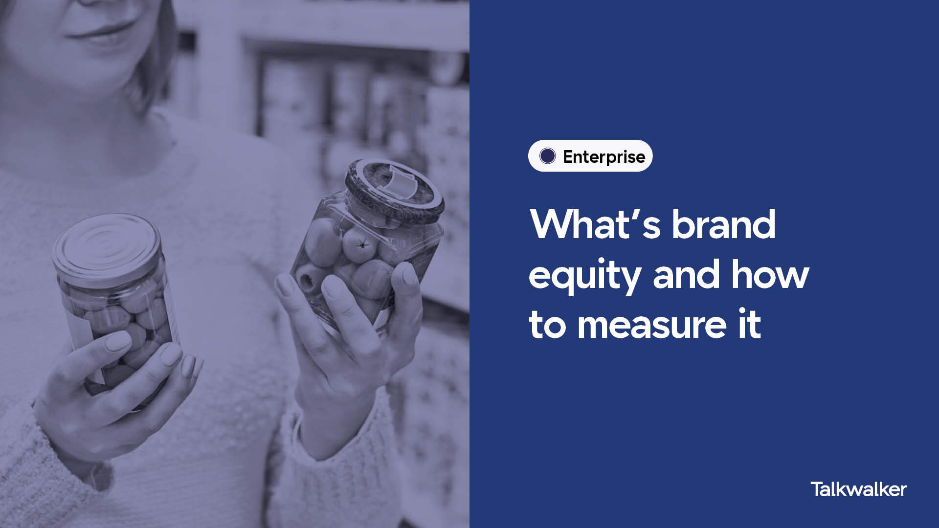 What is brand equity and how to measure it, with person choosing between two different brands.