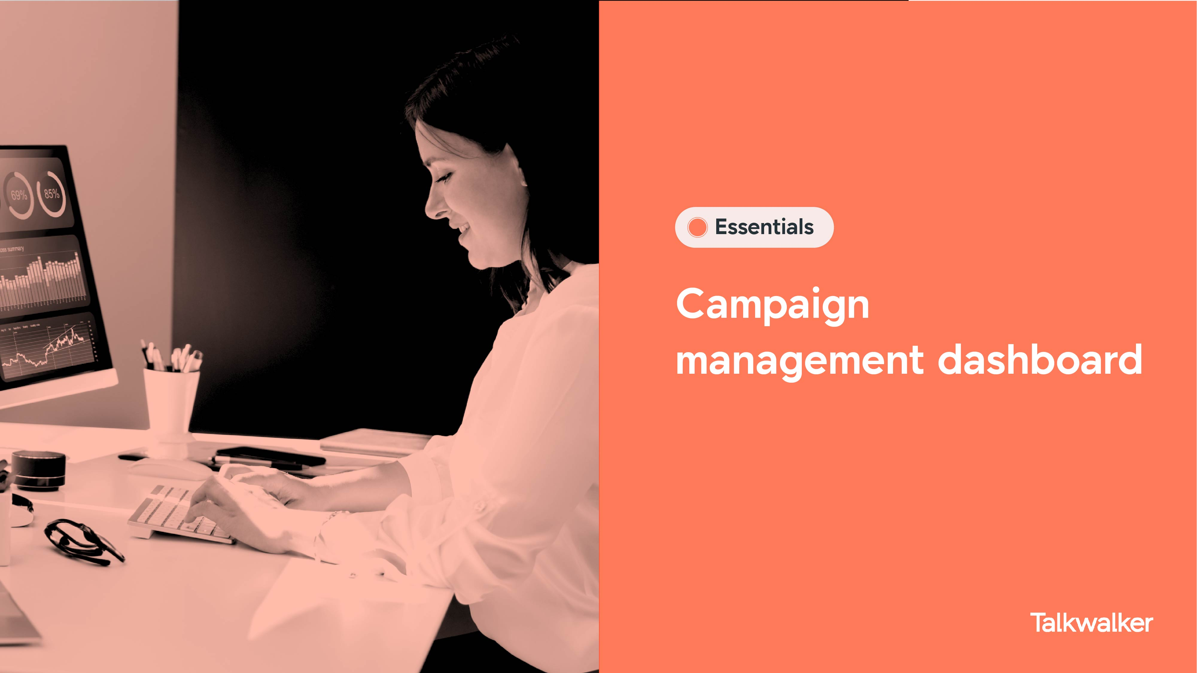 Campaign management dashboard template template of soda industry - woman typing in front of screen