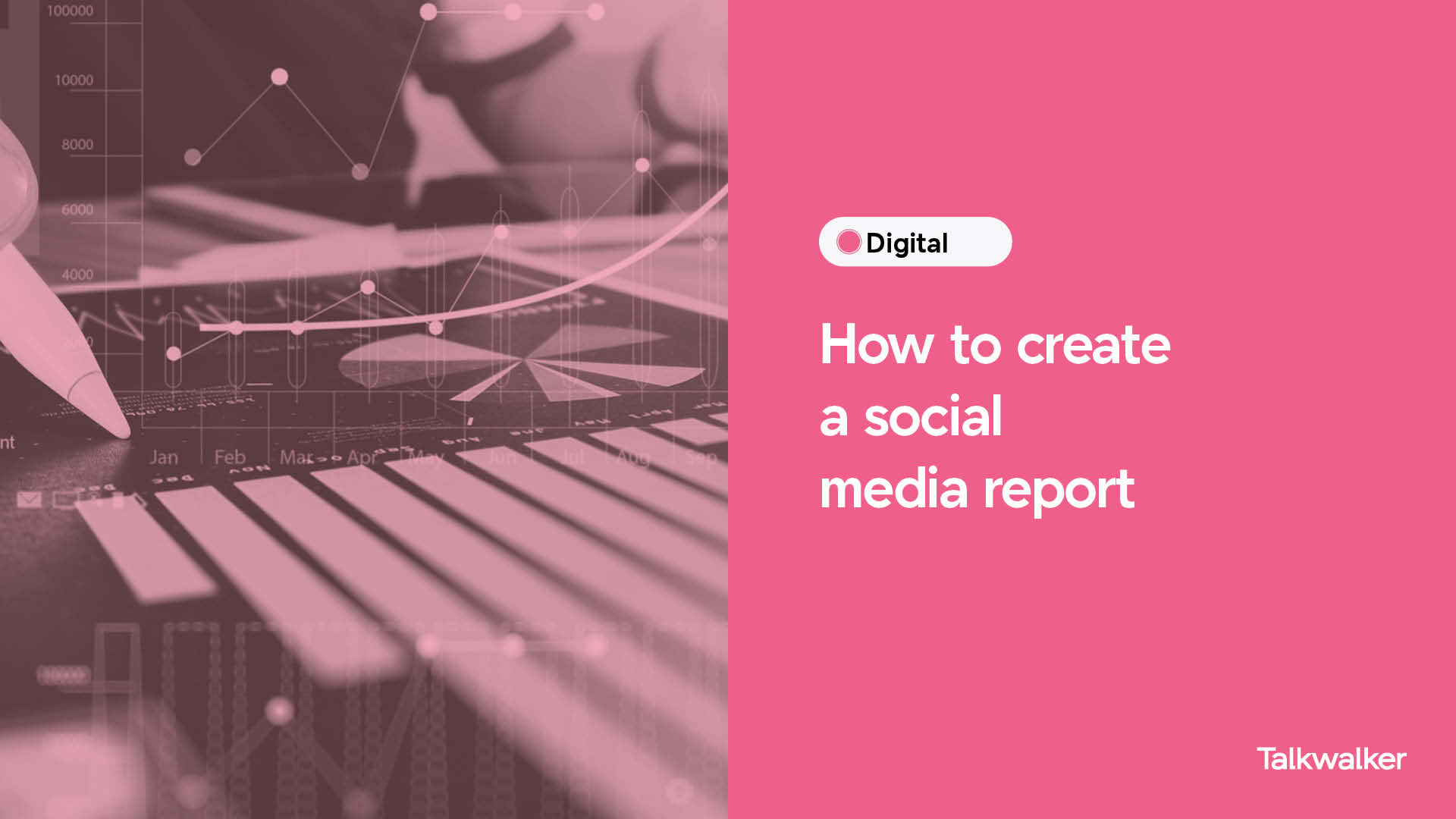 How to create a social media report with Talkwalker - close up of pie chart and bar chart with a person holding a pen and pointing at results.