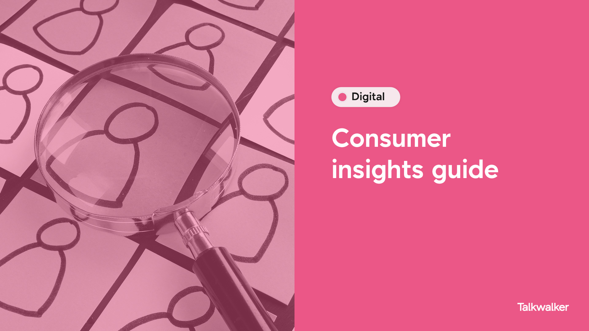 Title - Consumer insights guide. Category - Digital. Left shows a magnifying glass over crudely drawn icons to represent consumers.