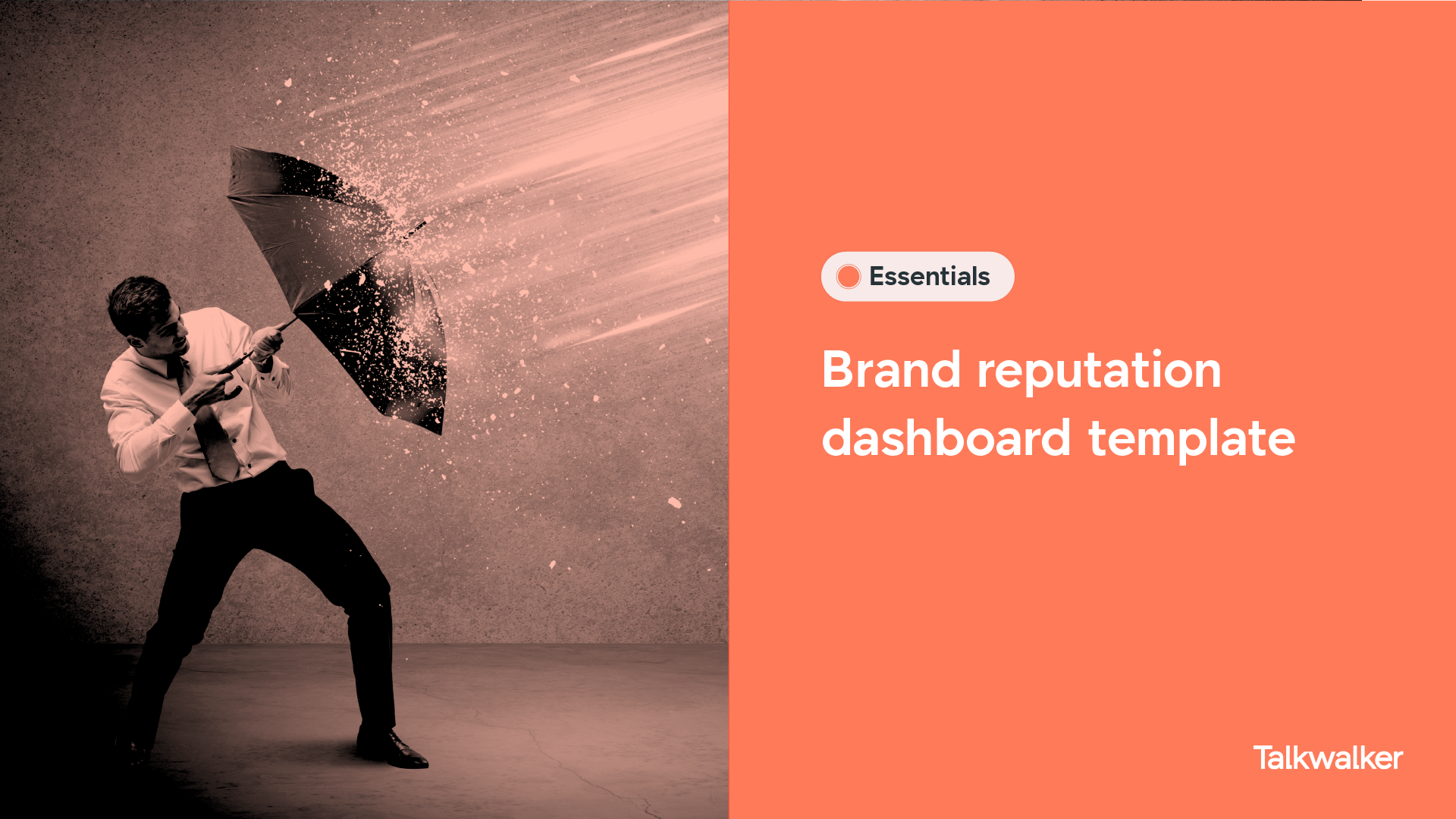 Brand reputation dashboard template illustrated with a man holding an umbrella, protecting himself against powerful rain.
