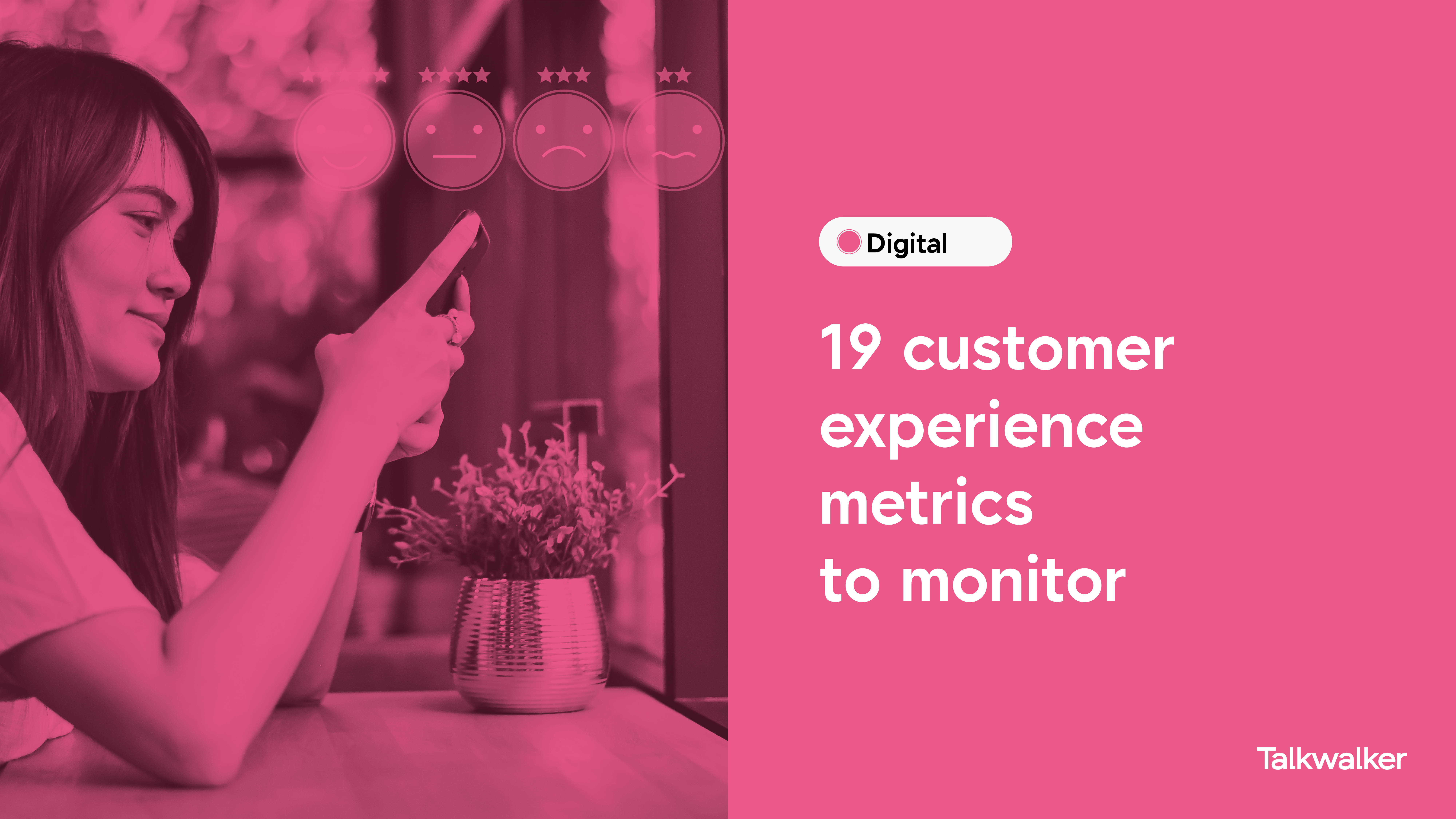 19 customer experience metrics to monitor - person using a smartphone to share a review, with emojis showing happy, sad, neutral emotion.