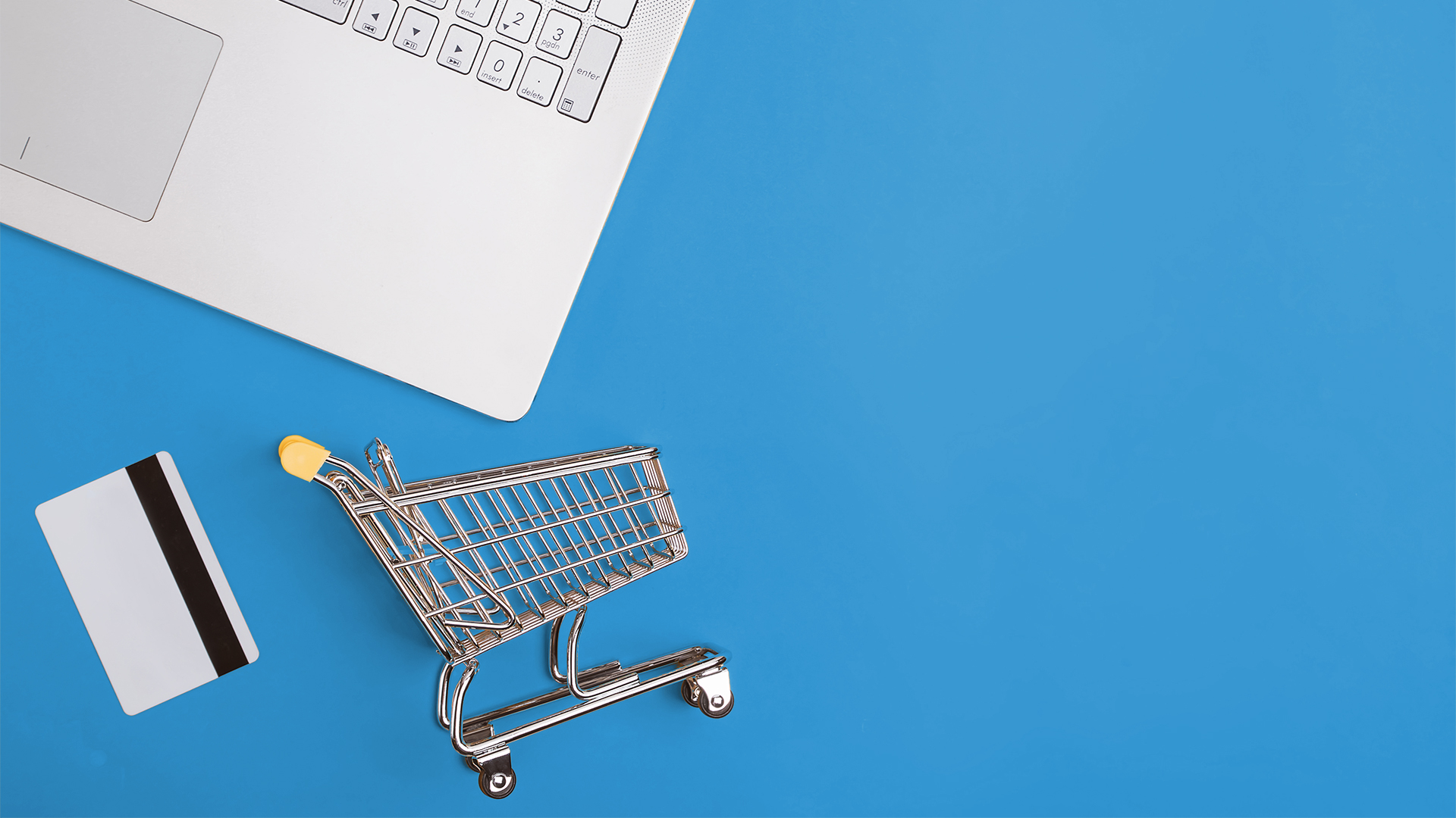 Some assets meant to symbolize the e-commerce industry are shown, including a credit card, a shopping cart, and a computer.
