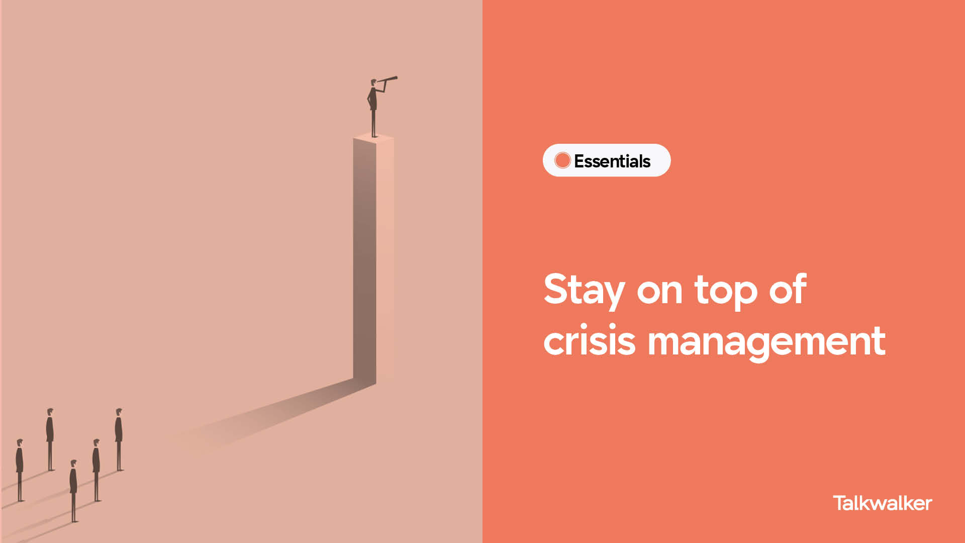 Crisis management dashboard template - man with telescope in front of a crowd