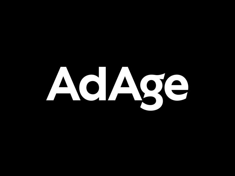 The AdAge marketing magazine logo is shown in white text against a black background