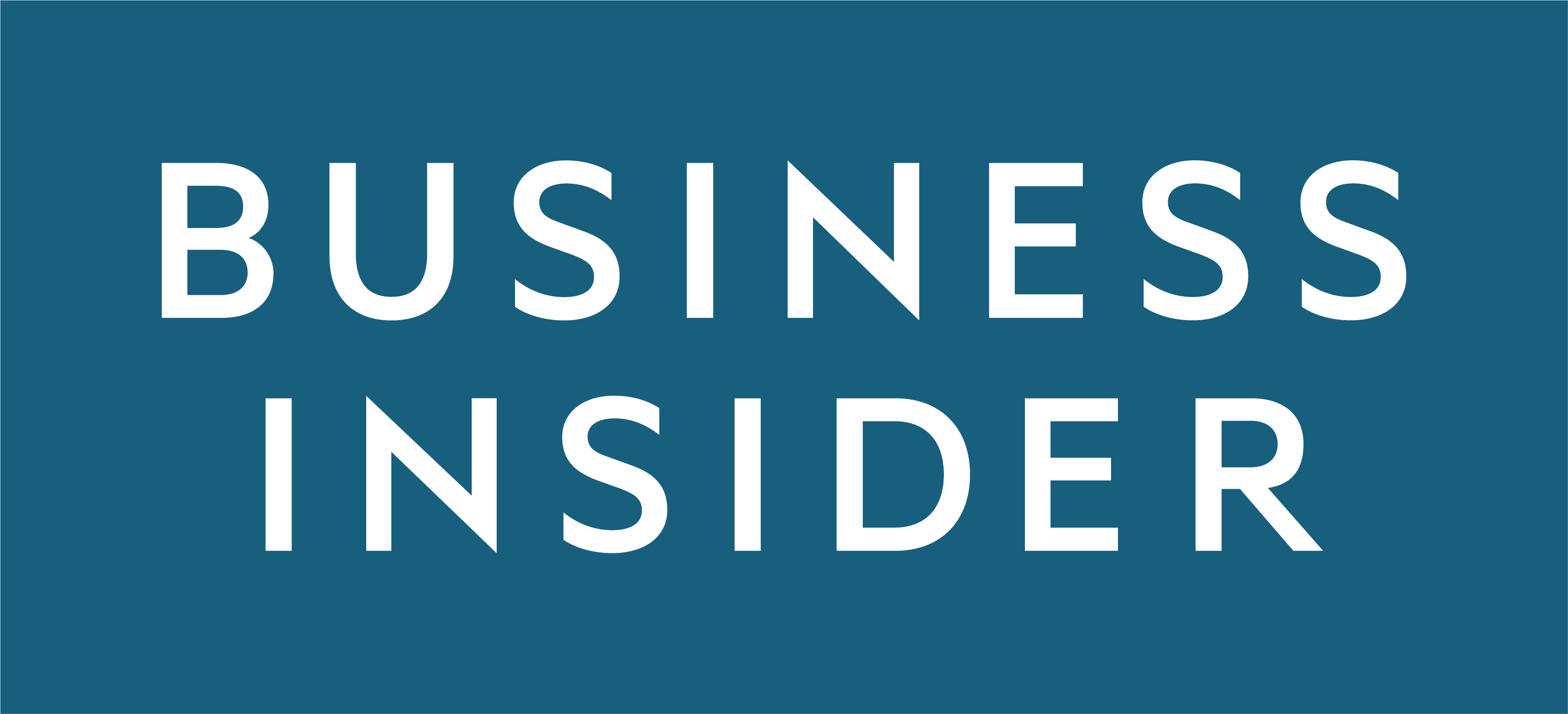 Business insider logo is show in white text against a blue background