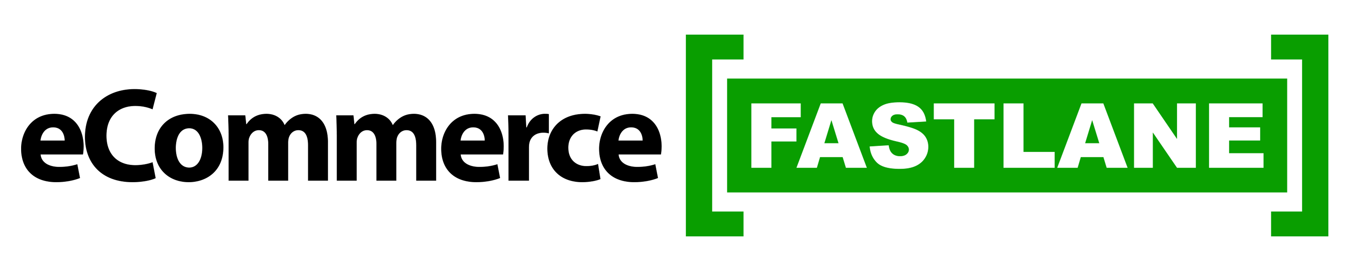 The eCommerce Fastlane website logo is shown in black text against a white background and white text against a green background.