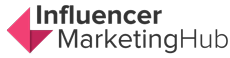 The logo of Influencer Marketing Hub is show in black letters and pink logo