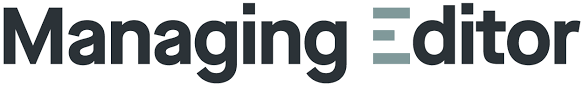 The Managing Editor magazine and website logo is shown in black and grey text against a white background