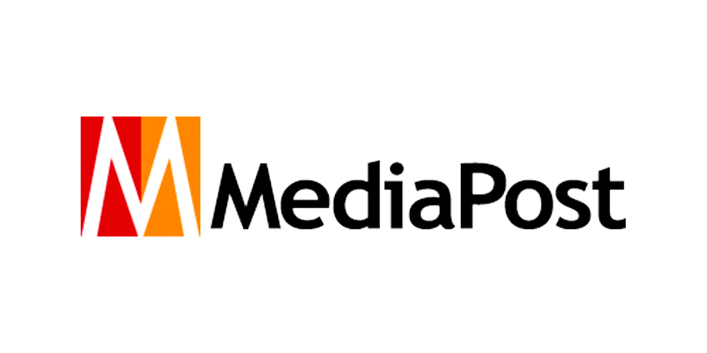 The Mediapost logo, the letter M shown in orange and red is shown against a white background, and includes the publication name Mediapost in black text
