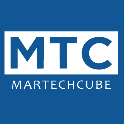 The Martech Cube logo is shown in white outline against a blue background