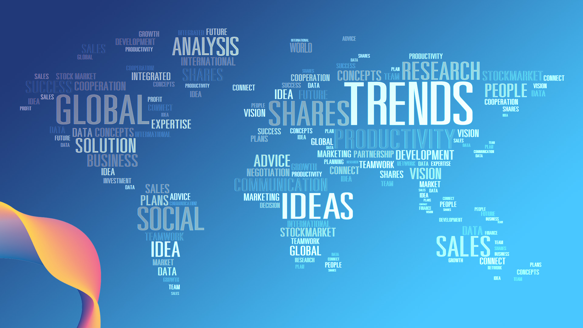 Word cloud in the shape of a world map highlighting words around trend research