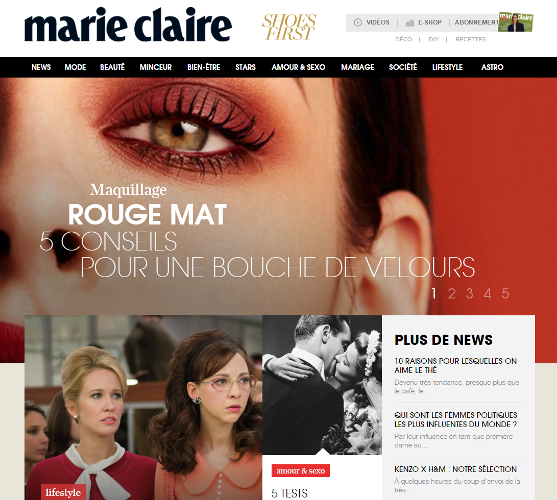 Marie Claire homepage
