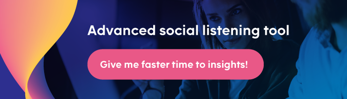 CTA button to register for a free demo of an enterprise-level social listening tool