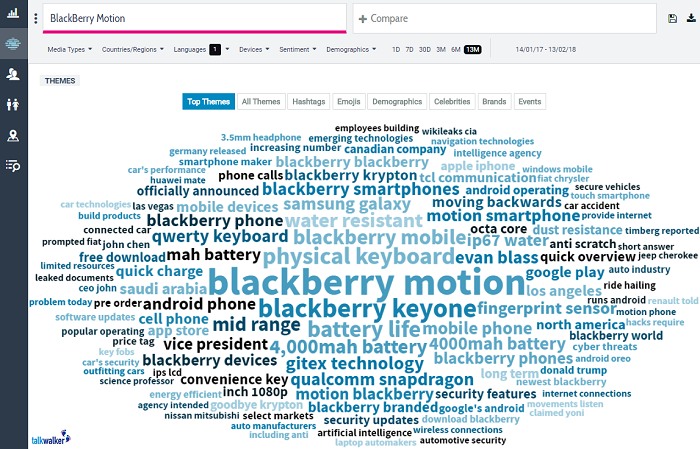 blackberry motion - competitor analysis in Quick Search