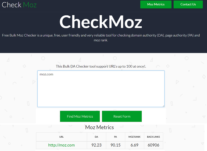 Check Moz: PR measuring tools