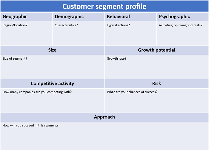 Customer segment profile - marketing plan template