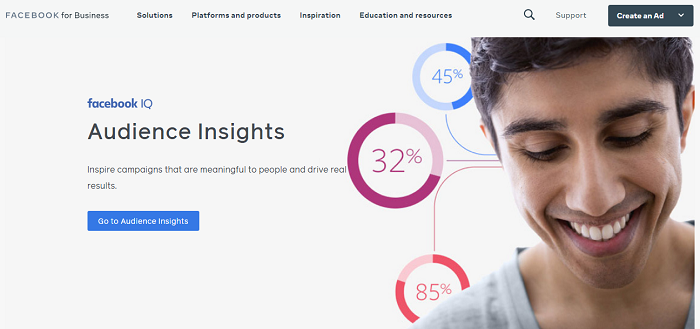 Facebook Audience Insights website home page - consumer research tool