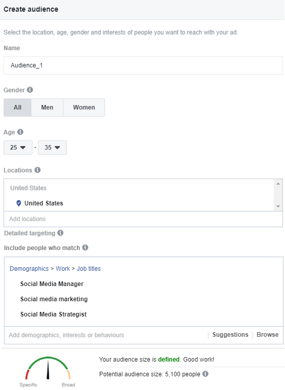 Targeting audiences in Facebook for PPC ads