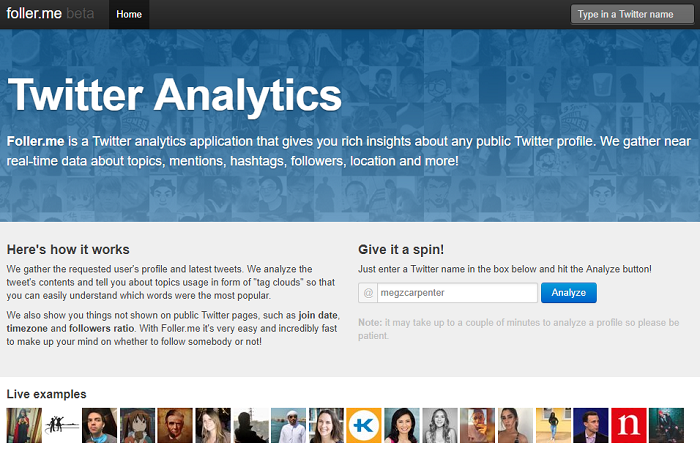 Twitter analytics tools - Foller me