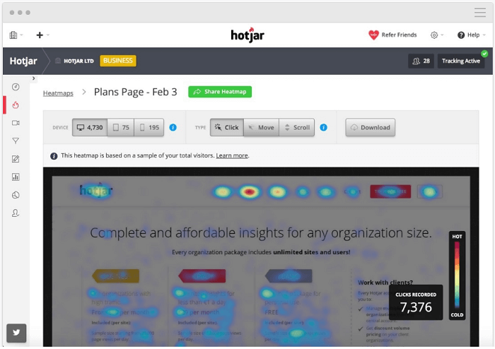 Consumer intelligence - customer behavior - Hotjar
