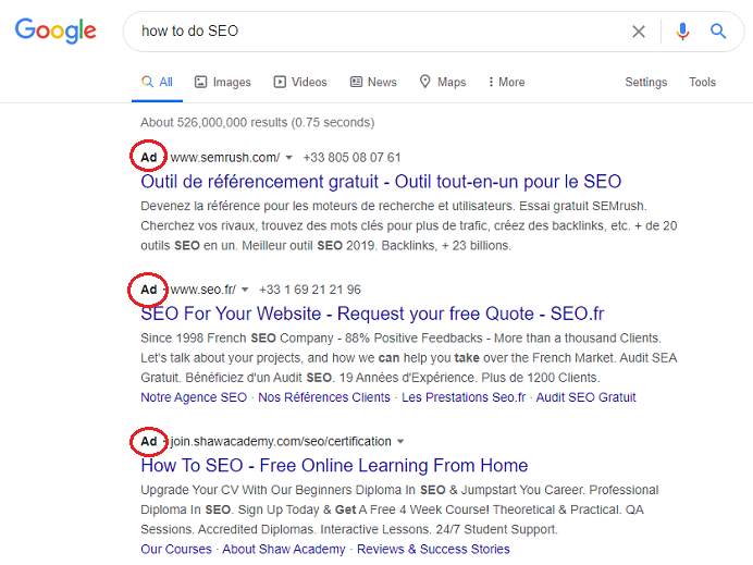 PPC ads in Google, appear above SEO ranked search results