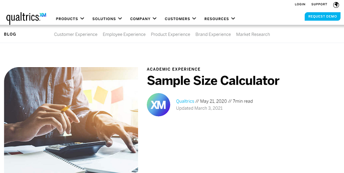 Qualtric - sample size calculator - website homepage