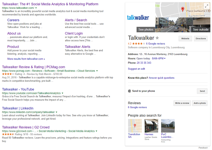 Talkwalker search results