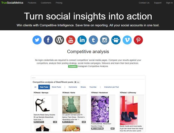 social media analytics tools - truesocialmetrics