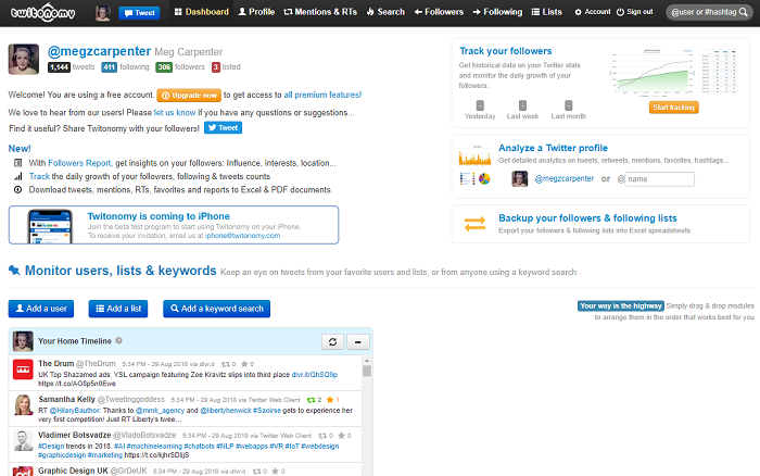 social media analytics tools - twitonomy