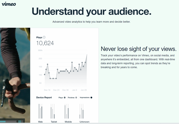 Vimeo - video analytics tool