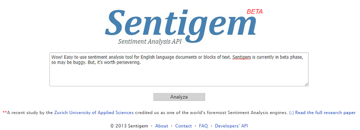 Sentiment analysis tools - Sentigem