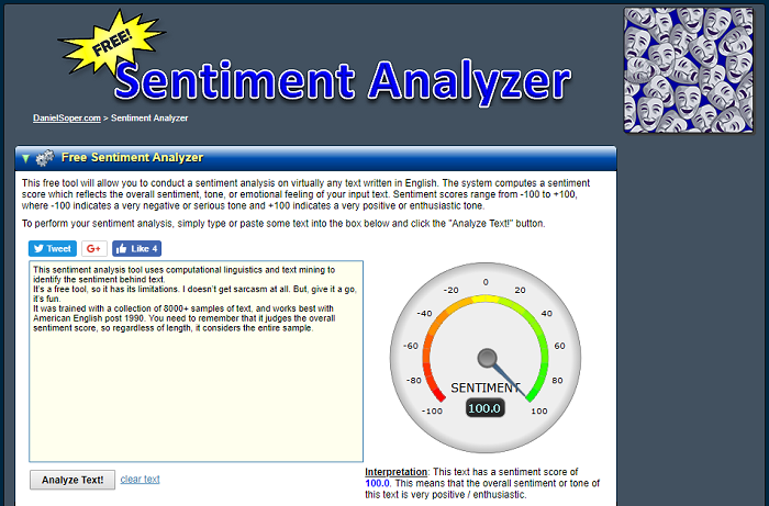Sentiment analysis tools - Sentiment Analyzer