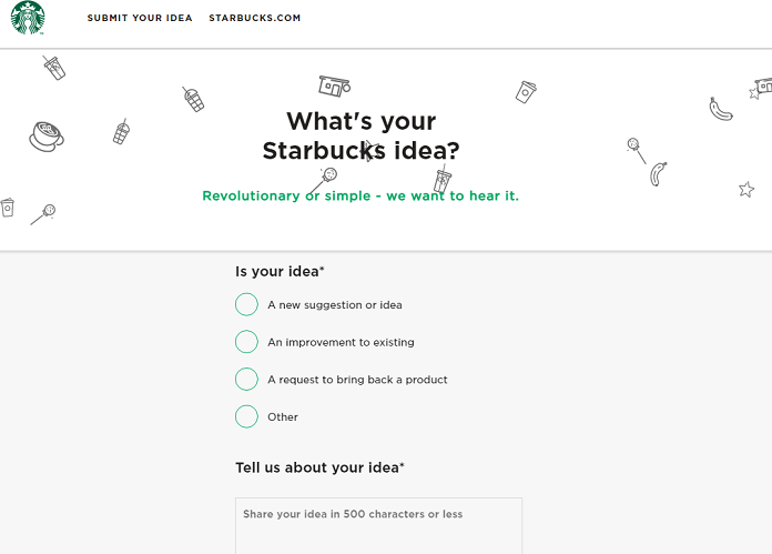 Starbucks idea submission website for market research