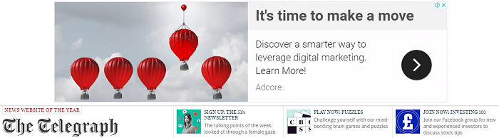 Paid display ad - banner - audience targeted - appearing on Telegraph newspaper