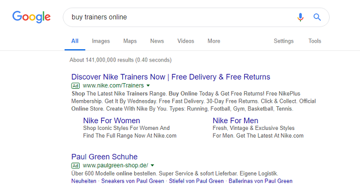 PPC Campaigns Ad Example