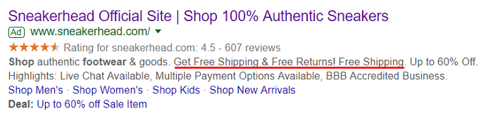 PPC Campaigns Ad Example Sneakerhead