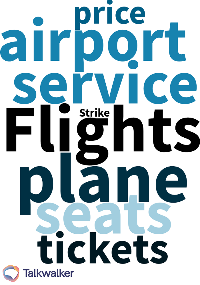 Customer retention airline issues word cloud