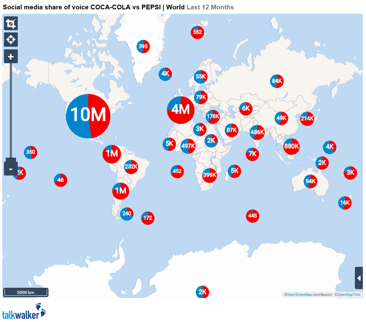 Coke vs Pepsi Social media share of voice World last 12 months