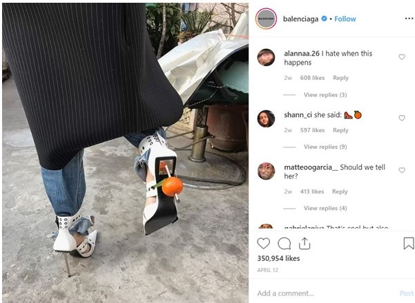 Instagram marketing strategy - Balenciaga engaged post 2