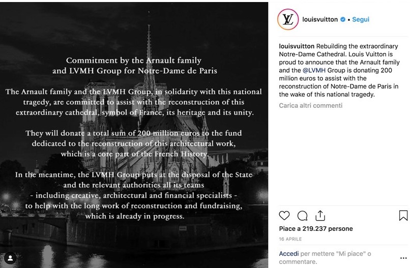 Instagram marketing strategy - Louis Vuitton Notre Dame