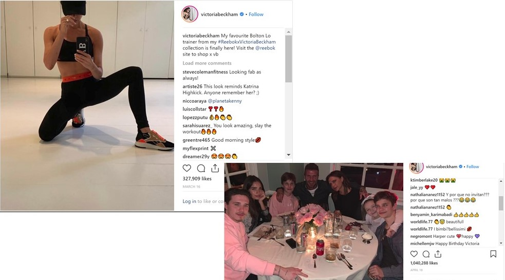 Instagram marketing strategy - Victoria Beckham engaged post 2