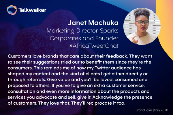 Janet Machuka, Marketing Director at Sparks Corporates and Founder #AfricaTweetChat