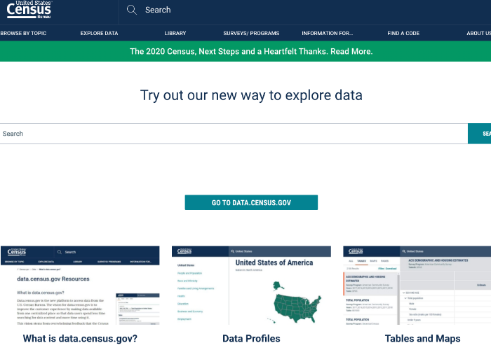 The census.gov page for downloadable datasets is shared for those looking to perfect their consumer research with the best datasets