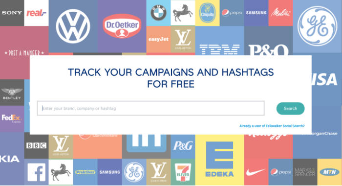 Talkwalker's free social search allows anyone to track their campaigns, brand, hashtag or competitors across the web.