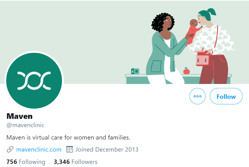 The twitter profile of Maven telemedicine company is shown