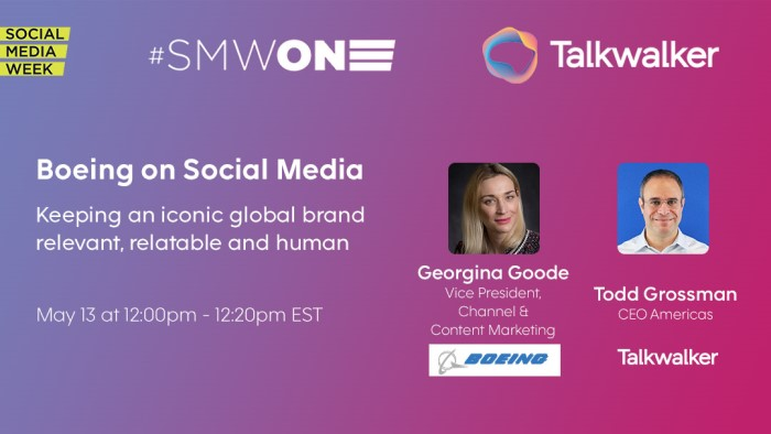 Promo image Talkwalker and Boeing session at SMWONE 2020