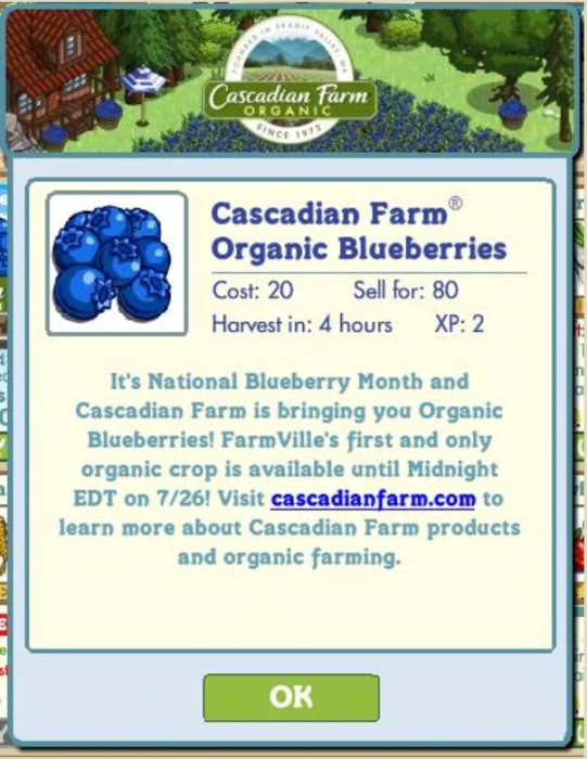 Cascadian Farms Farmville ad integration