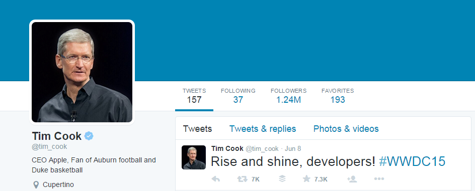tim cook twitter profile